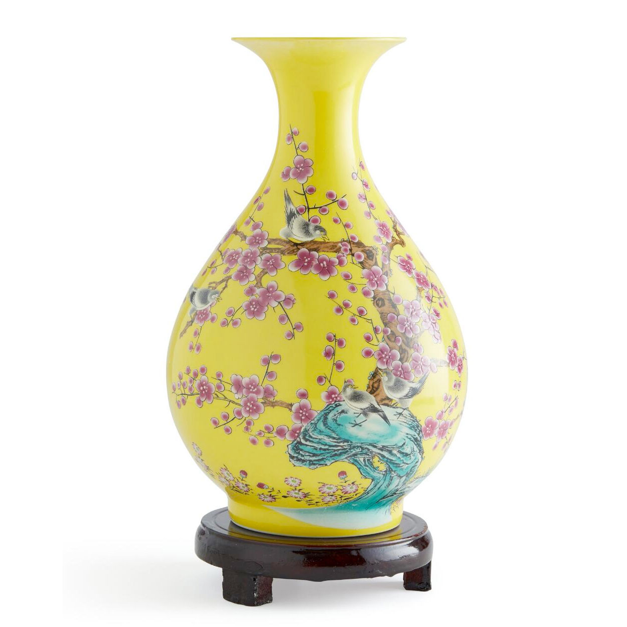 Half Hand-Painted Multi-Color Cherry Blossoms And Birds Vase With Wooden Stand