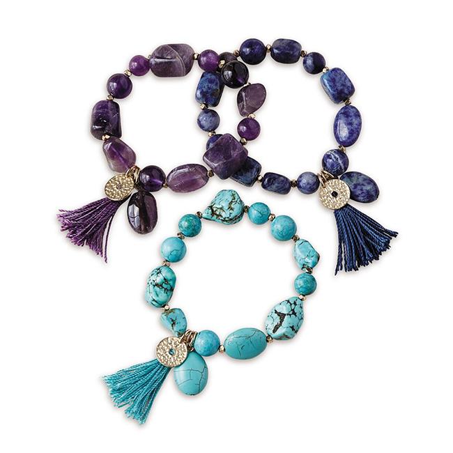 Semiprecious Gem Tassel Bracelet Set