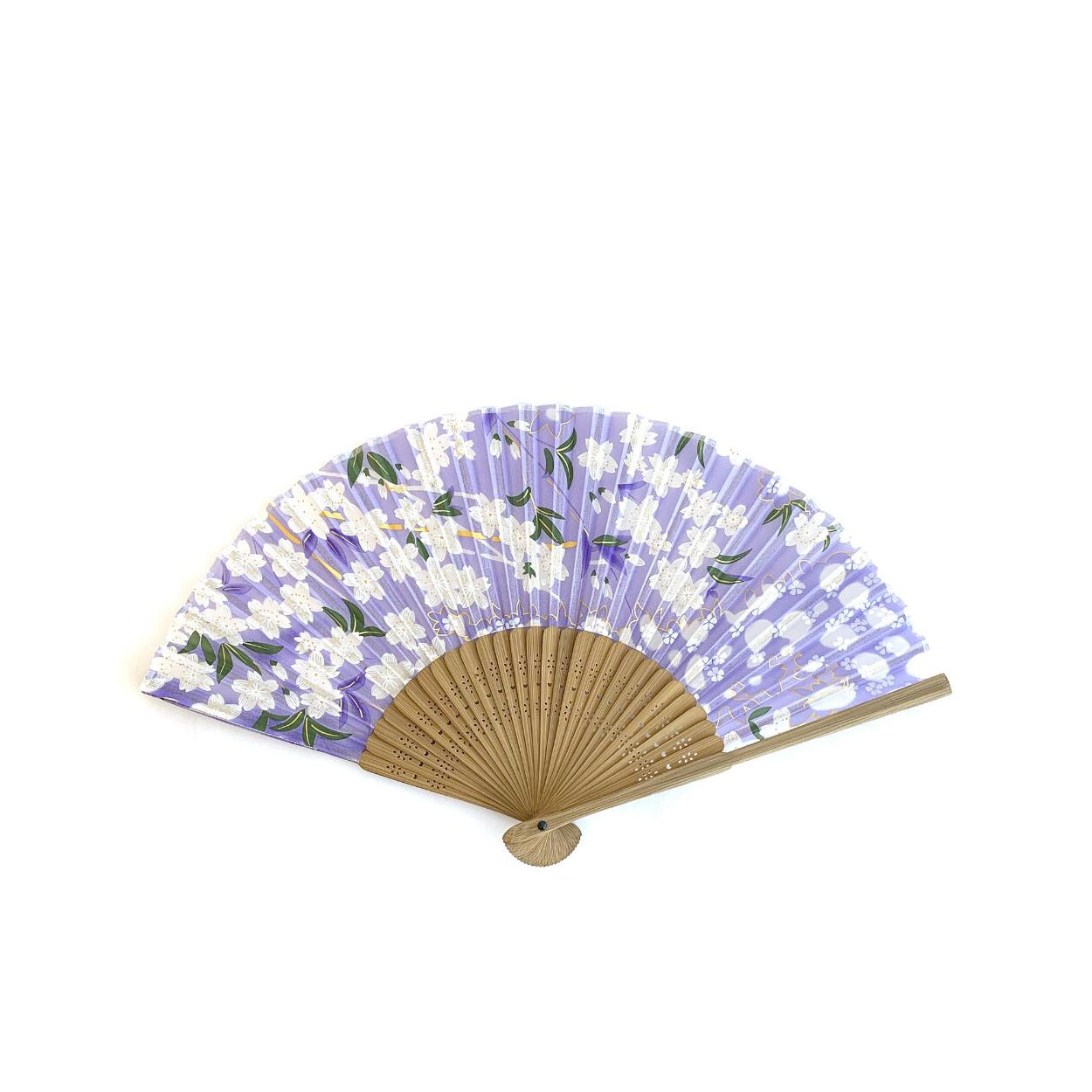 Lilac With White Flowers Silk Fan