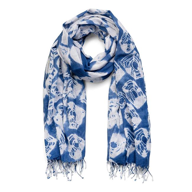 Indigo Tie-Dye Silk Scarf