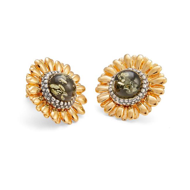 Green Amber Sunflower Earrings
