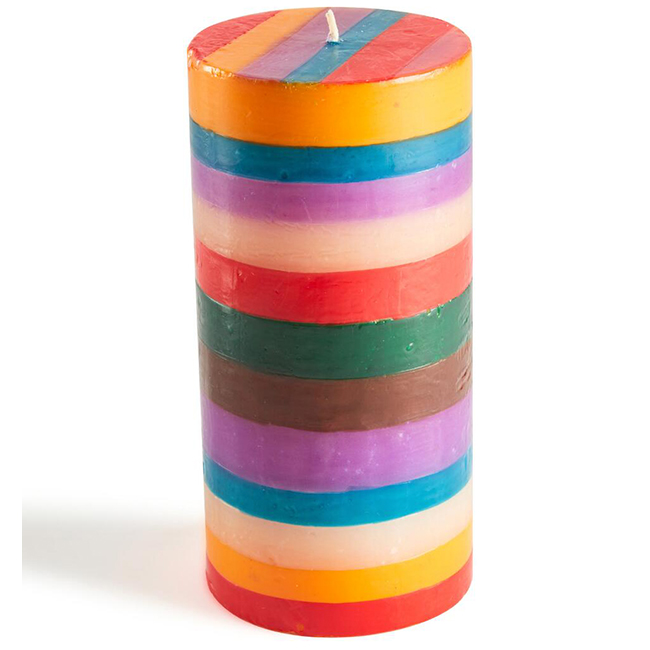 Hand-Painted Striped Pillar Candle
