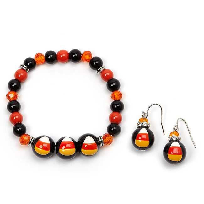 Luxe Hand-Painted Candy Corn Bracelet And Earrings Set