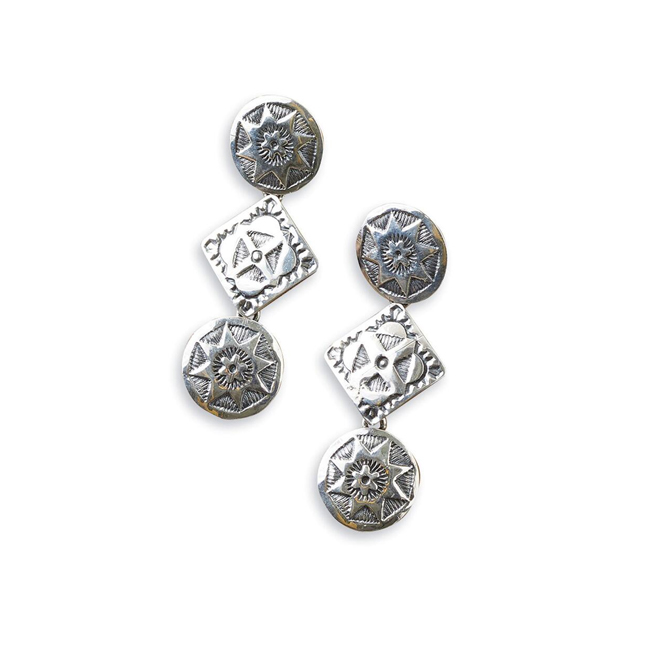 Navajo Stamped Sterling Silver Circle and Square Earrings