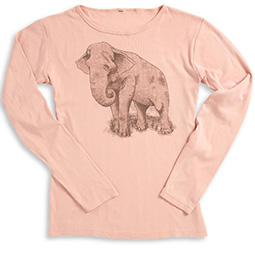 Women's Smithsonian National Zoo Long-Sleeve Pink Elephant Tee